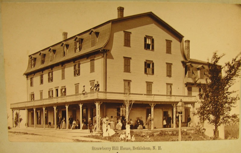 Guests on the porches of the Strawberry Hill House. This building was built in 1874, and in 1915 was operated by H C. Bartlett. Courtesy of the Bethlehem Heritage Society.