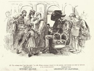 Augustus Hoppin, The Hay Fever, 1873, Story of Mr. Weeps, the hooded gentleman on the train. Courtesy HathiTrust.org
